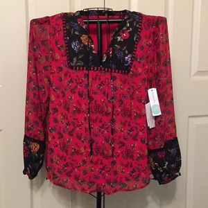 NWT Stitch Fix Long Sleeve Lined Floral Blouse